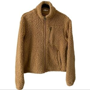 Brown Teddy Sherpa Bomber Jacket Small
